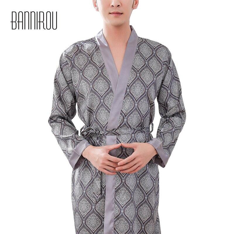 2019 Man Bathrobes Full Thin Slap-up Faux Silk Gray Plaid Simple High Quality Male Home Wear Sleepwear Spring Autumn BANNIROU