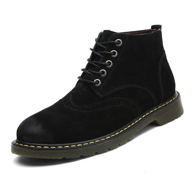 Moda Süet Deri Erkek Martin Çizmeler Sonbahar Kış yarım çizmeler Ayakkabı Lace Up Yeni Varış Marka rahat ayakkabılar Büyük Boy 38- 47