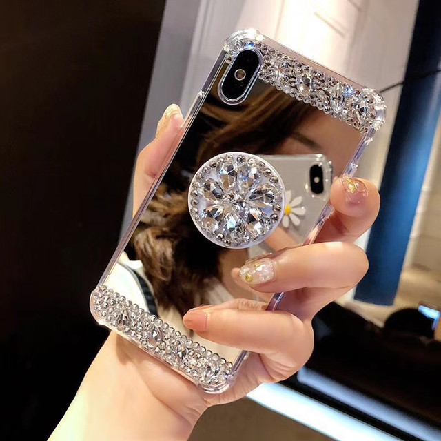 Rhinestone Airbag Mirror Phone Case For iPhone XR Xs Max XR for iPhone X 6  7 8 Plus Sparkle Bling Diamond Stand Soft Back Cover 9eef6f3e64bb