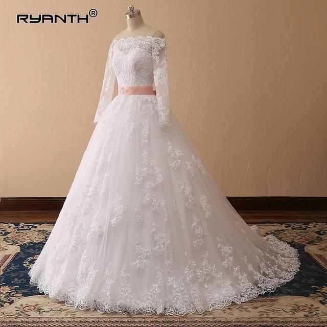 Vestidos de Novia 2019 Vintage Lace Long Sleeves Ball Gown Wedding Dress  Bridal Wedding Gown Vestido 5224e671a8dd