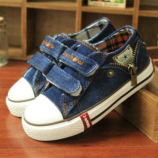 14 kinds New Arrived Size 25-37 Children Shoes Kids Canvas Sneakers Boys Jeans Flats Girls Boots Denim Side Zipper Shoes 5