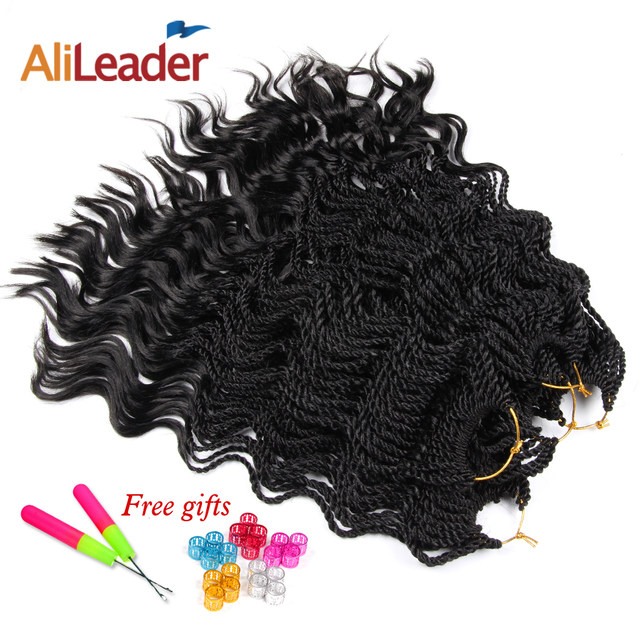 Online Shop Alileader Synthetic Curly Hair Extensions Blue Ombre