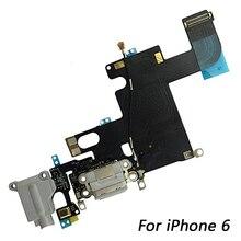 1 قطعة USB وصلة شاحن بمنفذ الشحن الكابلات المرنة + ميكروفون + سماعة الصوت جاك استبدال جزء آيفون 6 كابل مرن للشحن