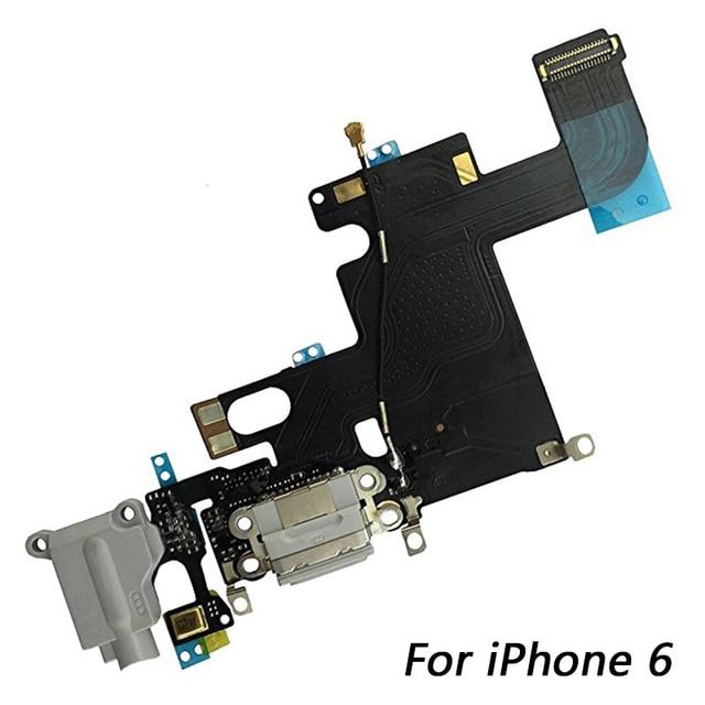 1pcs USB טעינת נמל Dock Connector להגמיש כבל + מיקרופון + אוזניות אודיו שקע החלפת חלק עבור iphone 6 טעינה להגמיש