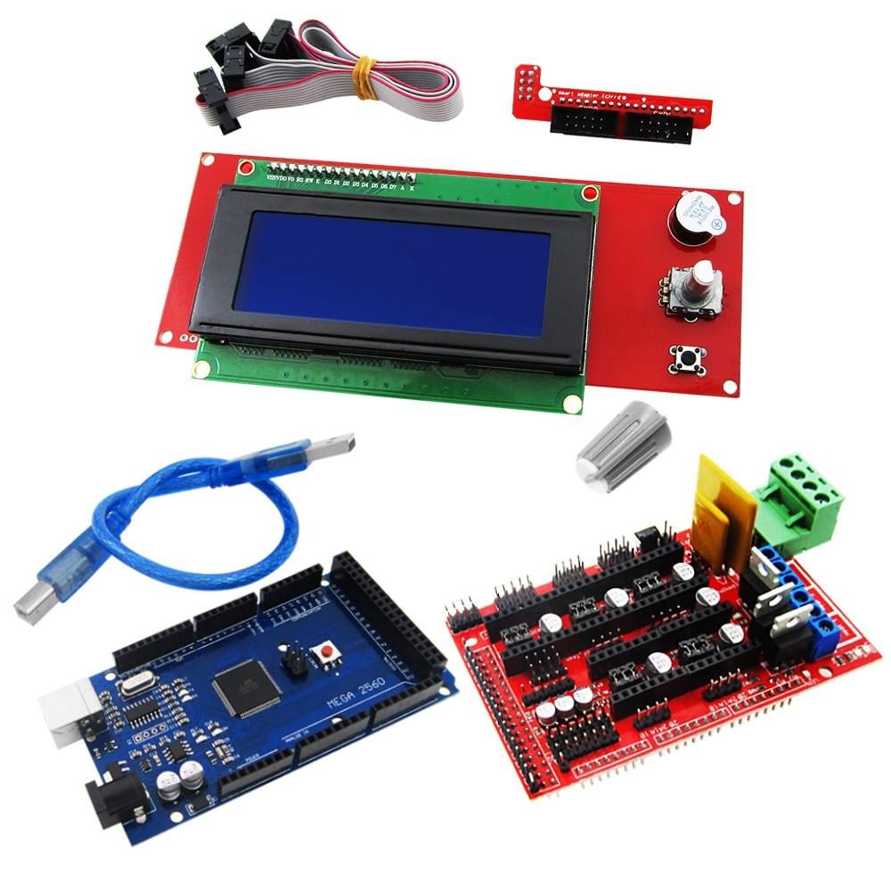 Mega 2560 R3 Mega2560 REV3 + 1pcs RAMPS 1.4 Controller +RAMPS 1.4 2004 LCD control 3D Printer kit Reprap MendelPrusa ramps 1 4 printer control reprap module for 3d printer deep blue