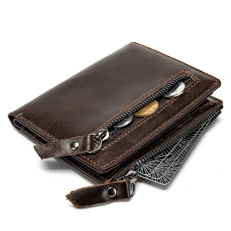 Short Wallets Card-Holder Coin-Purse Vintage Male Double-Zipper Genuine-Leather Classic