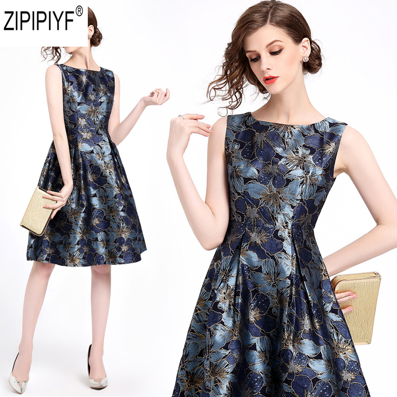 2018 Summer Fashion Women Floral Print A-Line Dress Casual O-Neck Sleeveless Dress Elegant High Waist Knee-Length Dress C1160
