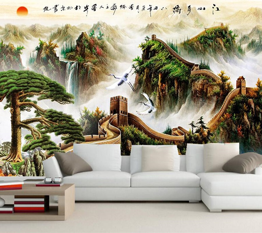 Large 3d murals chinese great wall wallpaper papel de for Chinese mural wallpaper