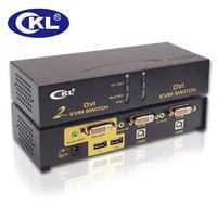 Promo CKL 2 puerto USB DVI KVM interruptor de Monitor de PC teclado ratón conmutador soporte de