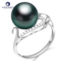 YS Fine Jewelry 9 10mm Natural Black Tahitian Cultured Pearl 18K Gold Ring Latest Designed