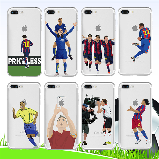 wholesale dealer 45f5d 51aed US $1.63 18% OFF Wholesale For Iphone 5 5s Se 6 6s Plus 7 8 X Case Athletic  Star Messi Beckham Football Transparent Soft Tpu Silicone Phone Cover-in ...