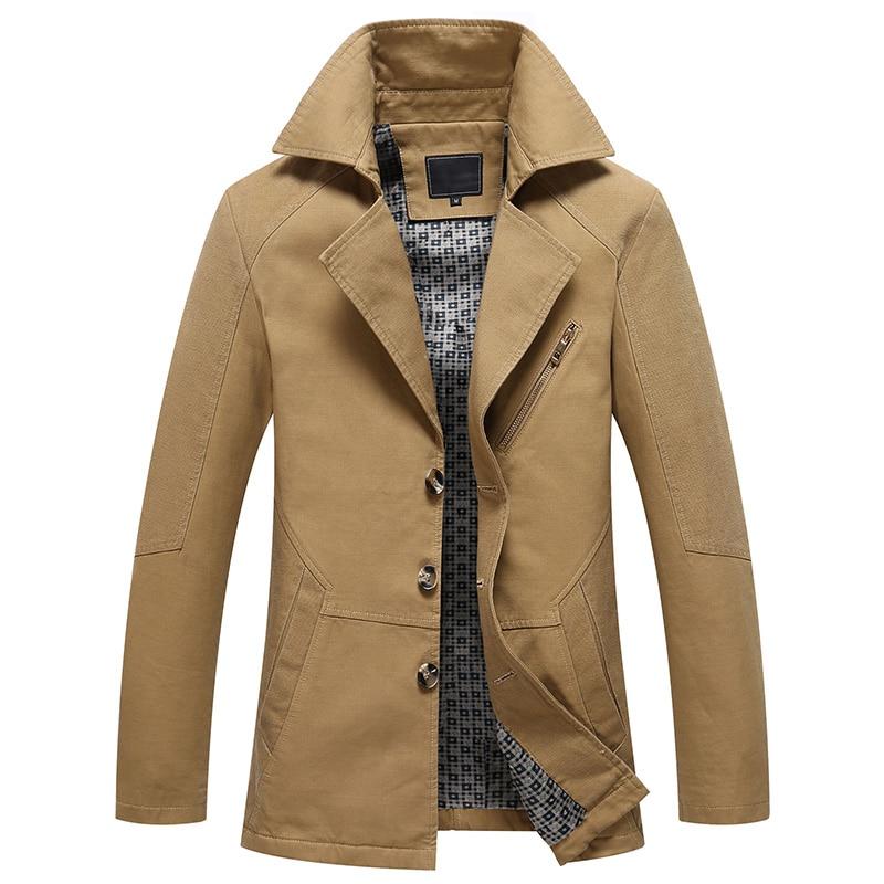 Мужская Весенняя Новинка 2019, деловой Повседневный тренчкот, куртка для мужчин, брендовый модный длинный рукав, 100% хлопок, однотонный вымытый тренчкот для мужчин