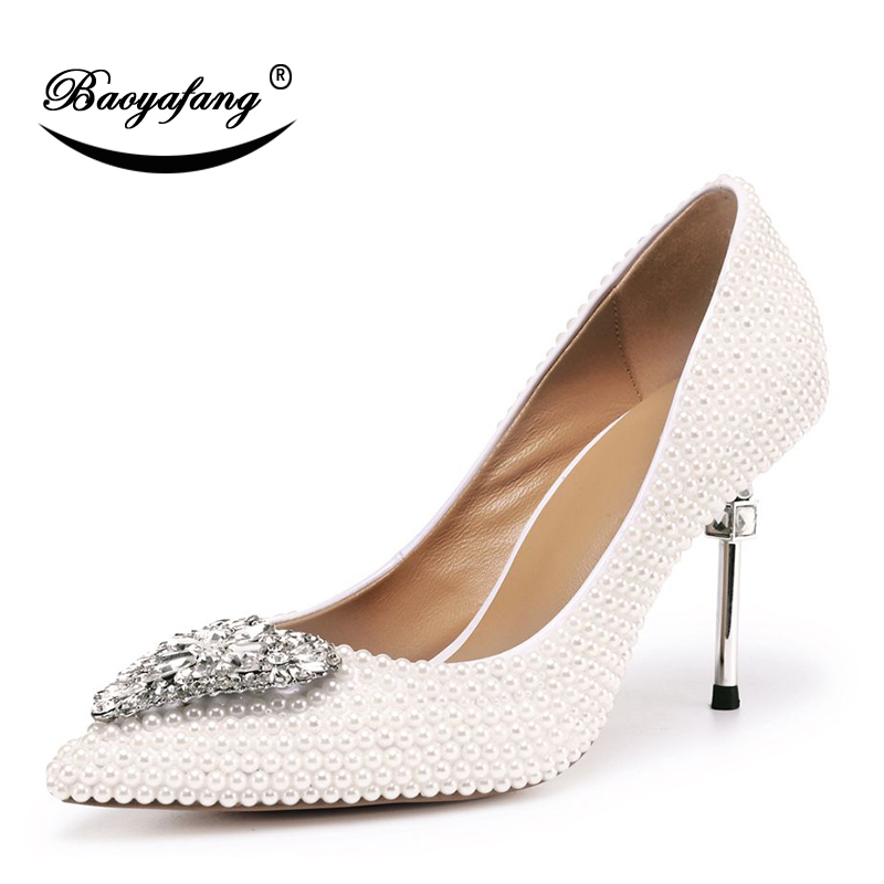 BaoYaFang New Arrival Strange Style Metal Heel Wedding shoes Woman Pearl  crystal Pointed Toe Party dress shoes High shoesBaoYaFang New Arrival Strange Style Metal Heel Wedding shoes Woman Pearl  crystal Pointed Toe Party dress shoes High shoes