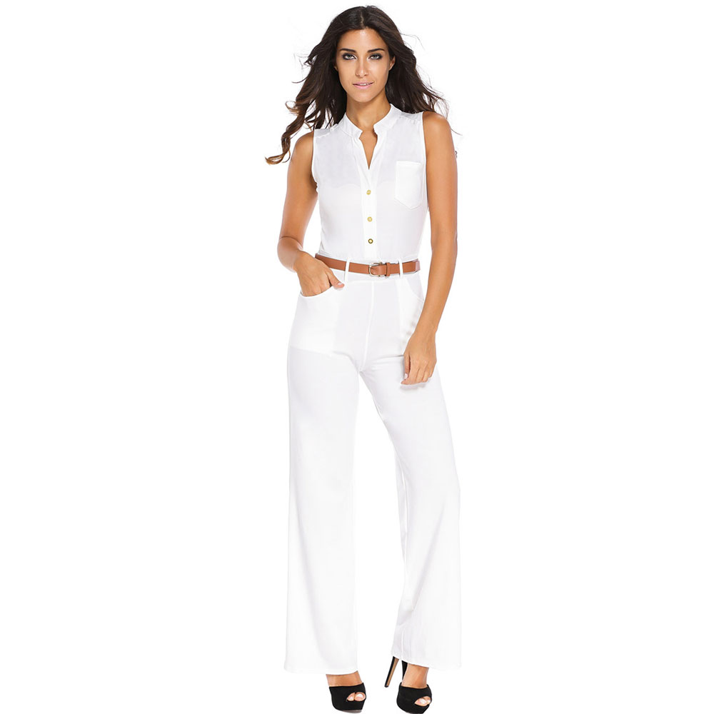 3a5abfff21c S 2XL Plus Size Large Casual Belted Wide Leg Full Length Women Jumpsuit  Jumpsuits Rompers Black White Red Yellow-in Jumpsuits from Women s Clothing  on ...