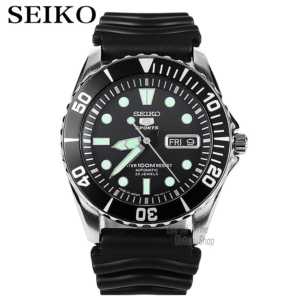 Seiko 5 Sports Automatic Men's Watch Pepsi Bezel Submariner Automatic Made In Japan SNZF15J2 SNZF17J2 все цены