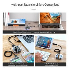 ORICO Transparent USB HUB 3.0 External 4/7 Port USB Splitter with Micro USB Power Port for iMac Computer Laptop Accessories OTG