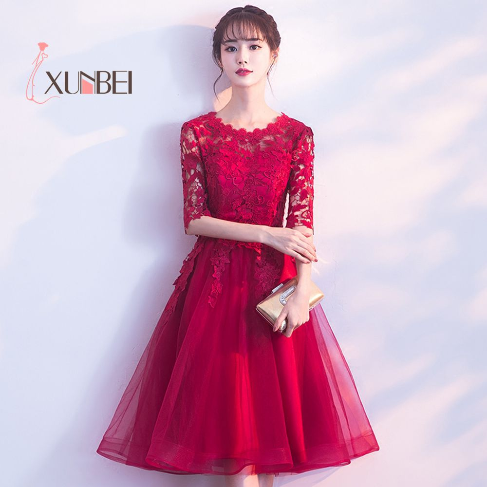 Half Sleeves Short Prom Dresses 2019 Knee Length Lace