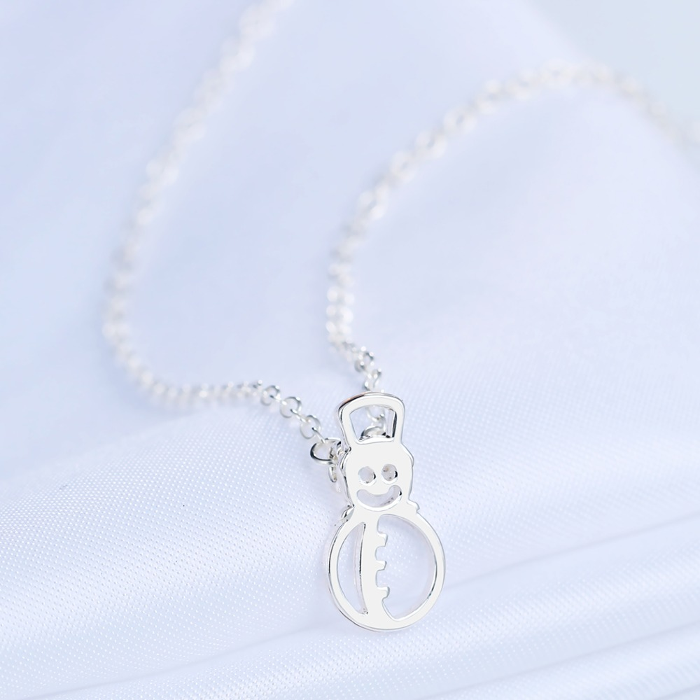 Chereda Hollow Snowman Cute Necklace Pendant Statement Summer Breach Women Necklaces Gold Silver Link Chain Jewelry in Pendant Necklaces from Jewelry Accessories