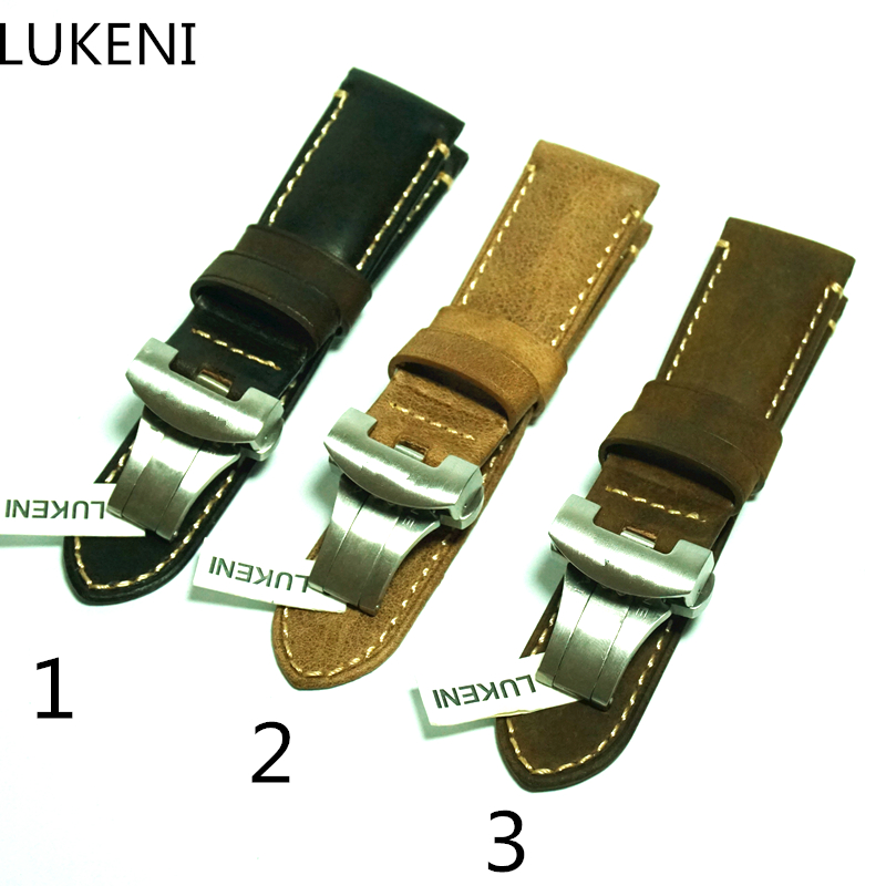 LUKENI New PAM 24mm Vintage Khaki Brown Italy Calf Leather Watchband Strap With Butterfly Buckle For Panerai PAM With LOGO цена
