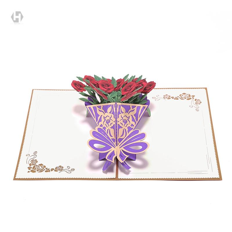 heart moon flower cards laser cut 3d paper pop up kraft
