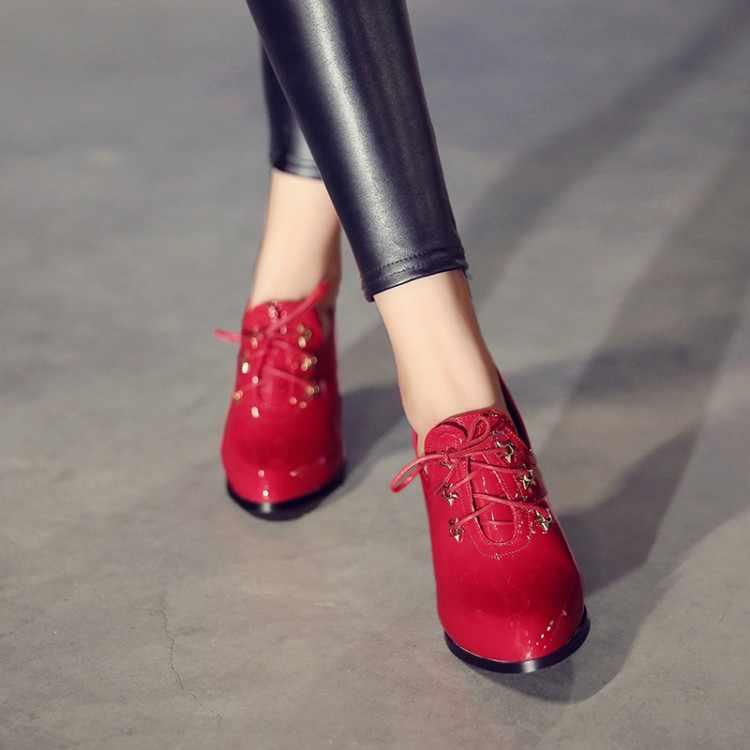 Duży rozmiar 11 12 13 14 15 16 damskie buty na wysokim obcasie damskie buty kobieta pompy głębokie-cut szpiczasty lace-up pojedyncze buty kobieta