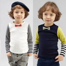 New Fashion Baby Boys Bowties Stripes Toddler Clothes Shirts Long Sleeve T-shirt Tops
