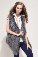 Real Silver Fox Fur Vest Natural Fox Fox Gilet Overcoat Fur Outwear Quality A
