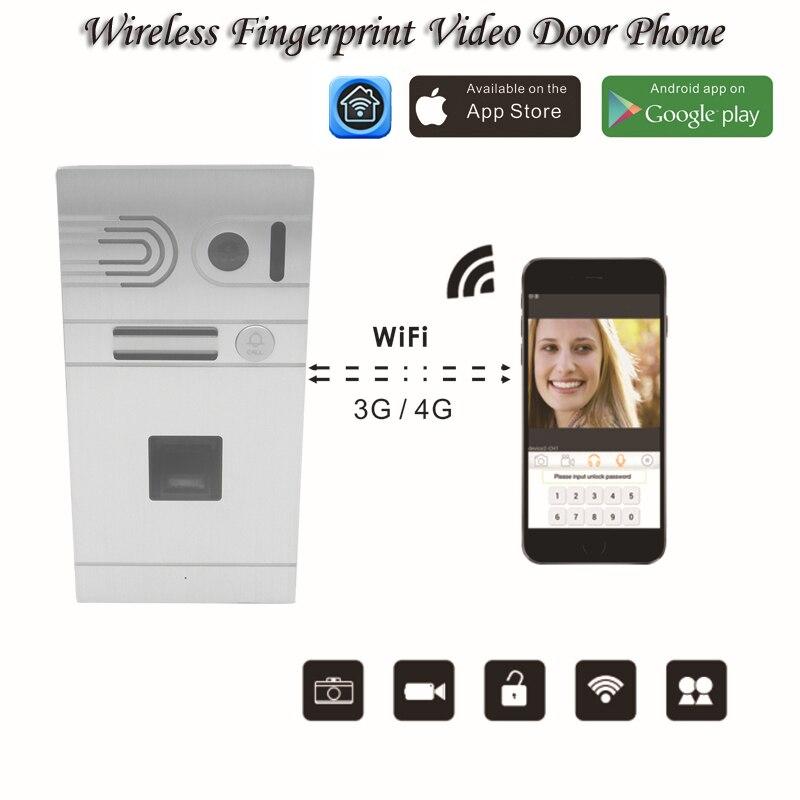 Wireless Wifi Remote Control IP Video Door Phones Wireless Fingerprint Intercom System Home Access Door Camera Doorbell phone biometric fingerprint access controller tcp ip fingerprint door access control reader