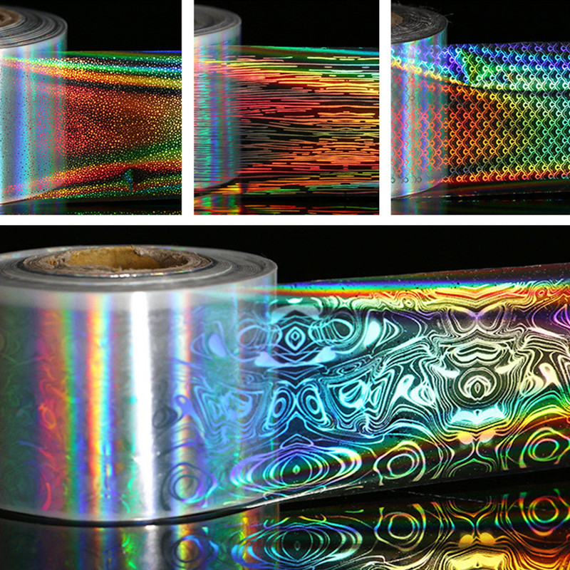 1 Roll Holographic Nail Foils Laser Fish Scale Nail Art Transfer Foil Starry Sky Transfer Sticker Manicure Nail Art Decoration 1 roll 4cm 120m gold silver holo starry sky nail foil tape nail art transfer sticker nail art decoration tools