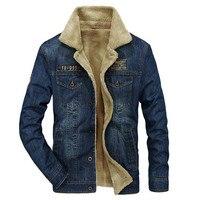 Winter Casual Denim Jacket Men Thick Warm Fleece Windbreaker Fur Collar Denim Blue Coat Male Jeans