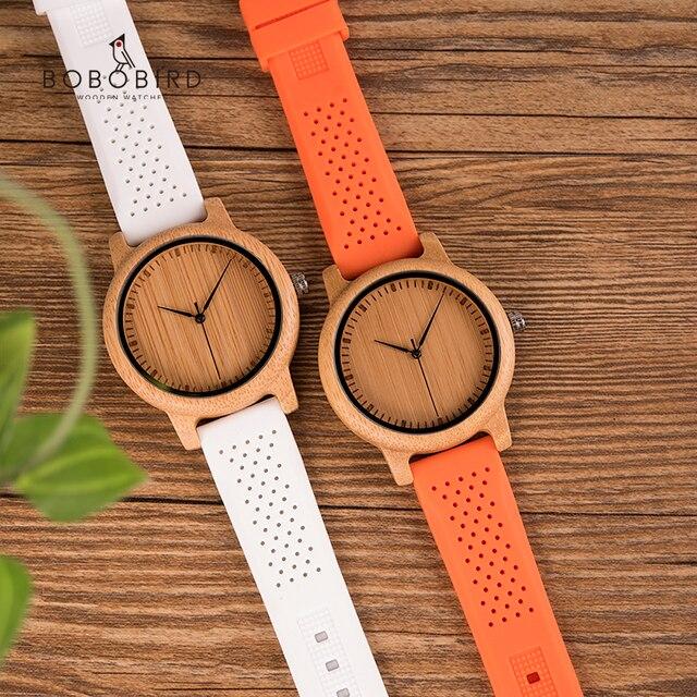 Reloj mujer BOBO BIRD นาฬิกาผู้หญิงชุดไม้ไผ่สุภาพสตรีนาฬิกาซิลิโคนญี่ปุ่นนาฬิกาข้อมือนาฬิกาของขวัญ