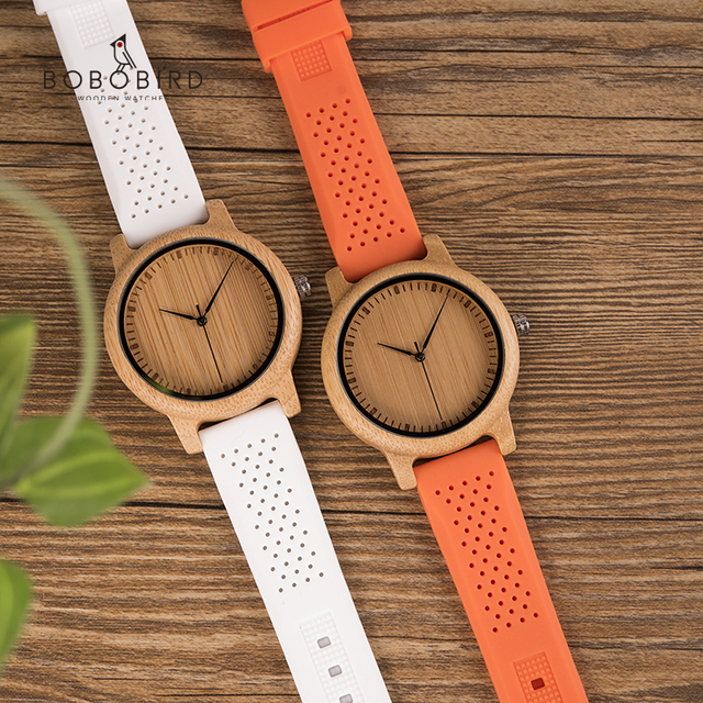reloj mujer BOBO BIRD Women Watches Set Bamboo Ladies Timepieces Silicone Strap Japan Movement Wrist Watch Gifts Women's Watches