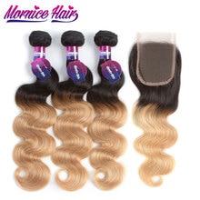 Mornice žmogaus plaukų paketai su uždara brazilų kūno bangų plaukų paketai 1B / 27 Ombre paketai su uždaroma nemokama dalis Non Remy