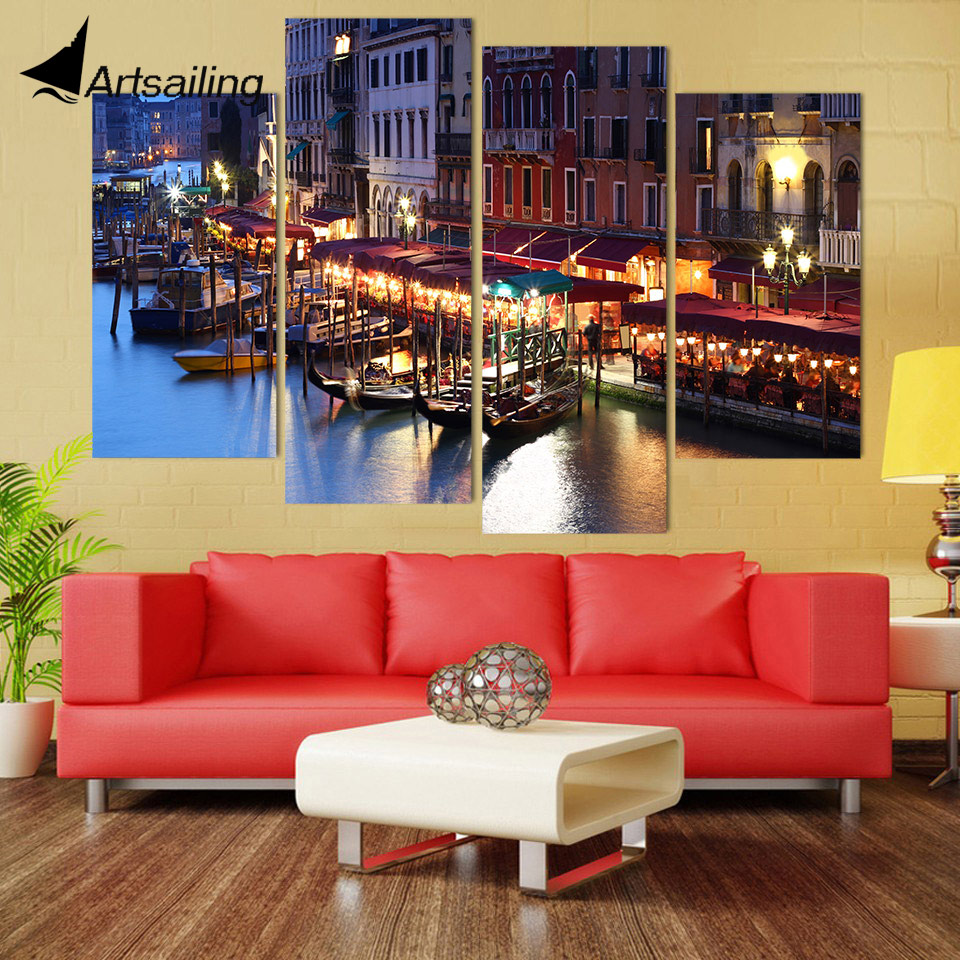 Italy Home Decor: Canvas Painting 4 Piece Canvas Art City Venice Italy Water
