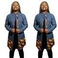 Novas Mulheres Da Moda Jaqueta Jeans Africano Ancara Africano Impressão Detalhando Longa Jean Casaco 709