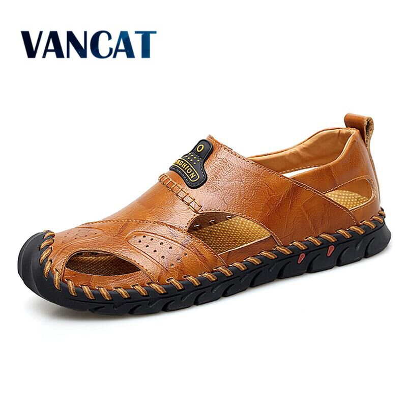 Brand 2019 New Handmade Summer Sandals Beach Sandals Breathable Men's Shoes Genuine Leather Men's Causal Shoes Plus Size 38-48