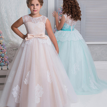 Cute Flower Girl Dresses Lace Colorful Buttons Back Nice Communion Dresses Kids Evening Gowns Prom Dresses Vestido Daminha