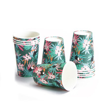 Pack of 12 Tropical Party Toucan Palm Leaves Disposable Paper Cups 9 oz. Jungle Safari Animal Luau Hawaiian Party