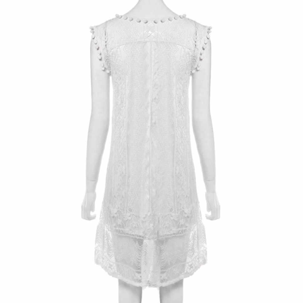 2019 kobiety Plus rozmiar bez rękawów, krótka sukienka z pomponem Mini sukienka moda lato słodki nowy Streetwear krótka sukienka