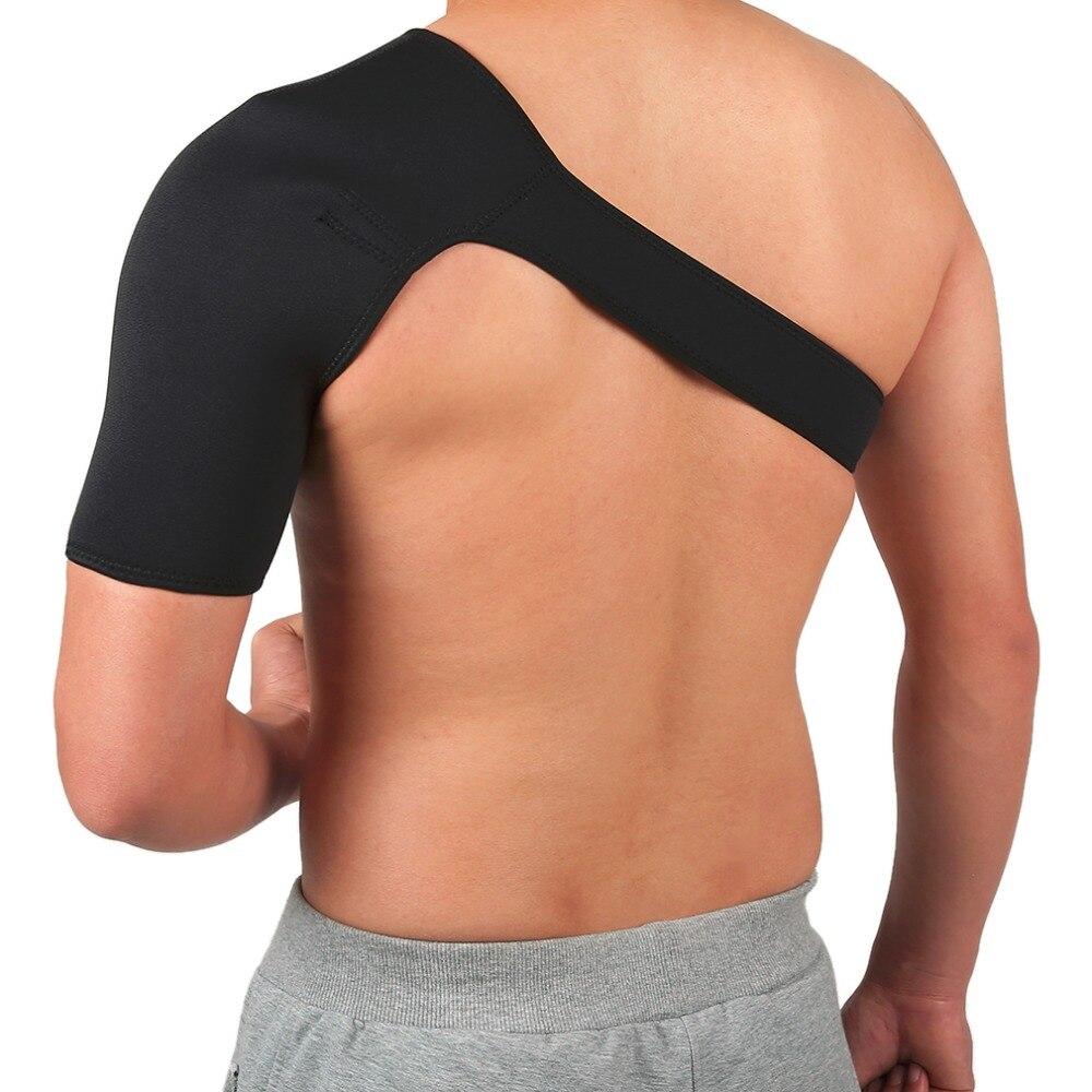 Breathable Gym Sports Care Single Shoulder Support Back Brace Guard Strap Wrap Belt Band Pads Black Bandage Men&Women new