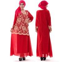 Müslüman Moda Gevşek Tatlı Bayan Şifon Hollow Kanca Çiçek Elbise Elbise Dubai Bengal Etnik Takım Hizmeti Çok renkli Isteğe Bağlı