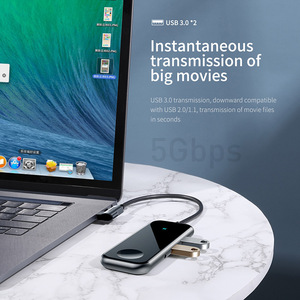Image 2 - Baseus USB C Hub a HDMI RJ45 Multi USB 3.0 per Macbook Pro HUB Senza Fili del Caricatore hab Usb Splitter Tipo C Adattatore Per Aux Martinetti