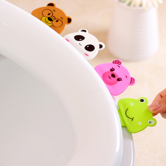 Cute cartoon creative toilet portable toilet cover is not dirty hands opened toilet lid toilet lifting tool