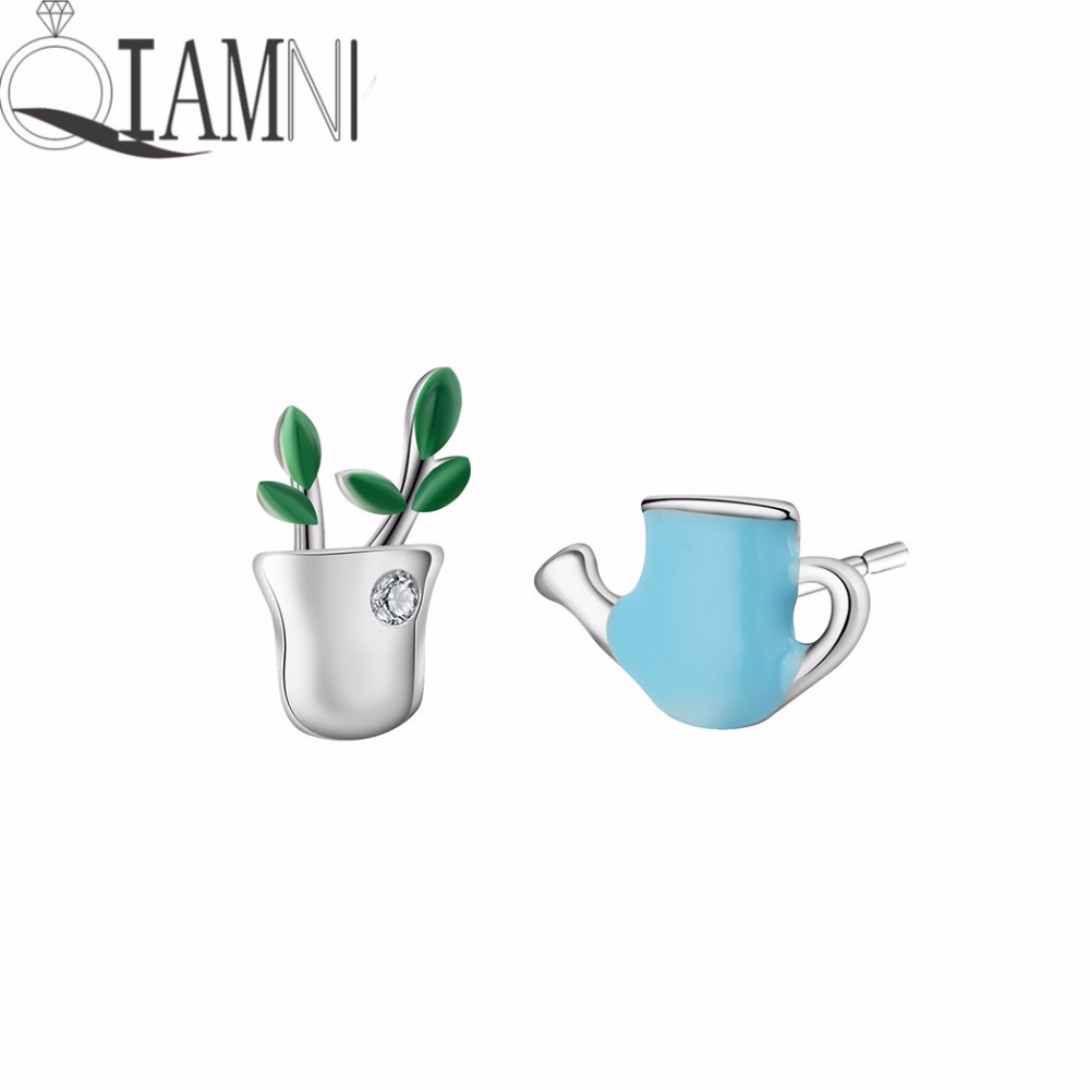 Jewelry & Accessories Lower Price with Qiamni Delicate Flower Leaves Potted Plant Green Seedling Stud Earring For Women Girls Kettle Earrings Birthday Gifts Bijoux Demand Exceeding Supply Stud Earrings