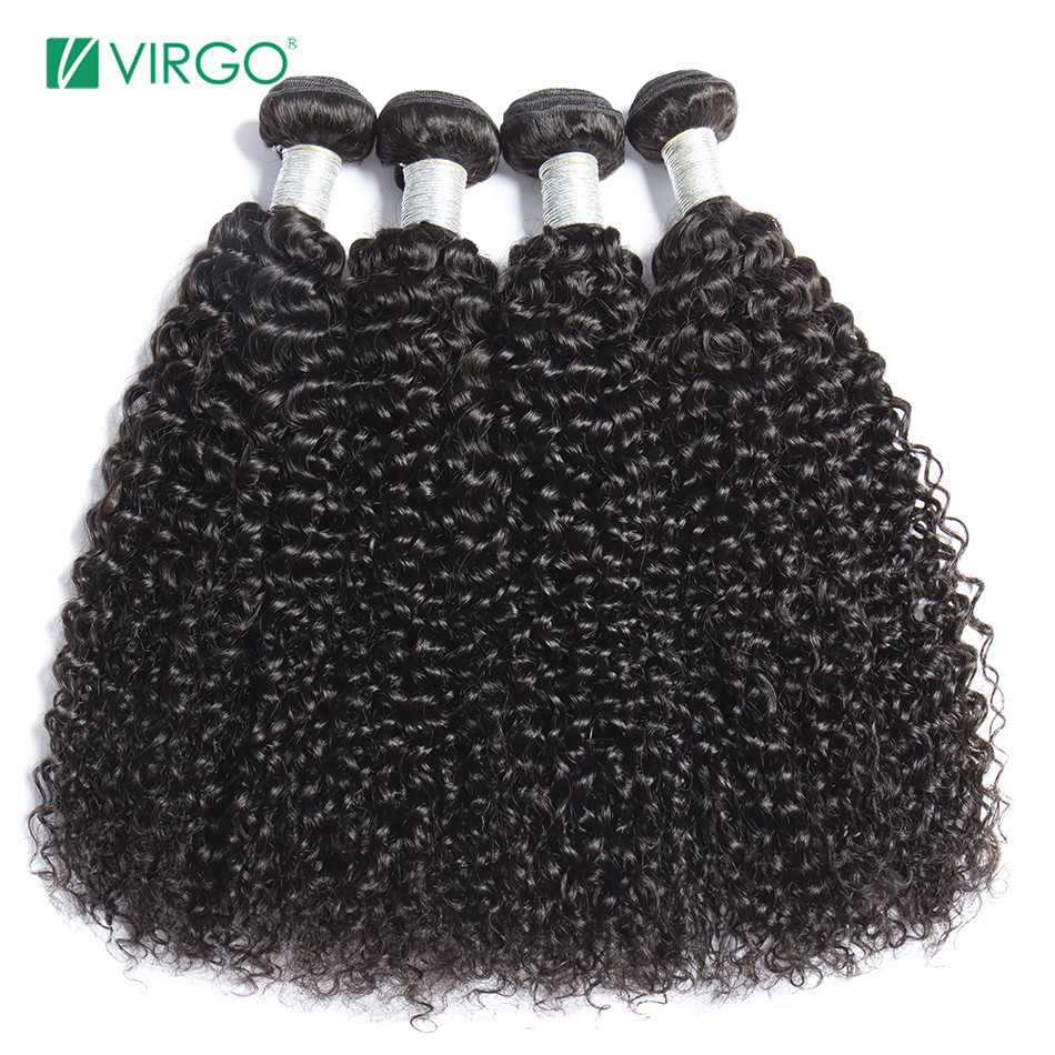 Virgo Hair Mongolian Kinky Curly Extensions Human Hair Weaving Bundles Natural Color 1/4 Pieces 100G Remy Hair Free Shipping