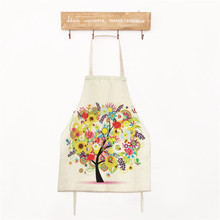 1x Colorful Tree Cotton&Linen Child Aprons Creative Home Cleaning Kitchen Cooking Baking Apron For Kids new cotton aprons фартук canvas pockets baking chefs kitchen cooking apron фартук кухонный chefs with hat household merchandises