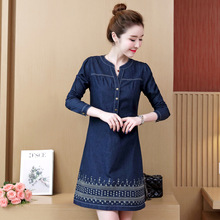 цена Summer Denim Dress Women Short Sleeve Vintage Slim Jeans Dresses Embroidered flowers Cowboy Mini Dress Female Plus Size 5XL