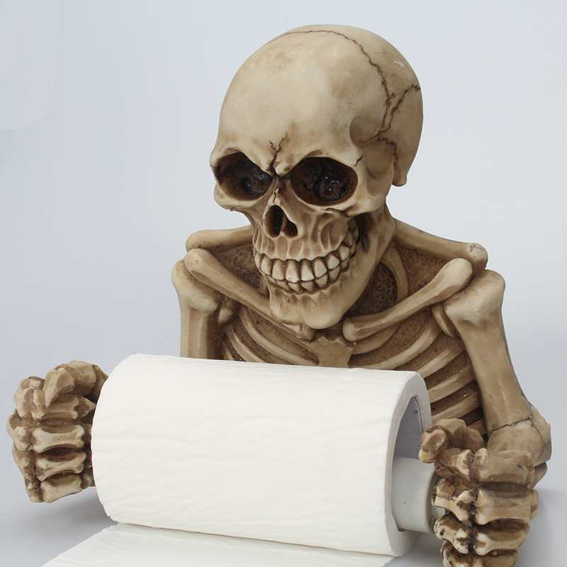 Creative Skull Toilet Paper Holder Wall Mount Tissue Box Paper Roll Holder 3D Sanitary Paper Storage Bar Bathroom Organizer