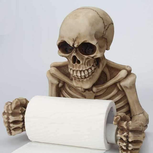 Creative Skull Toilet Paper Holder Wall Mount Tissue Box Roll Sanitary Storage