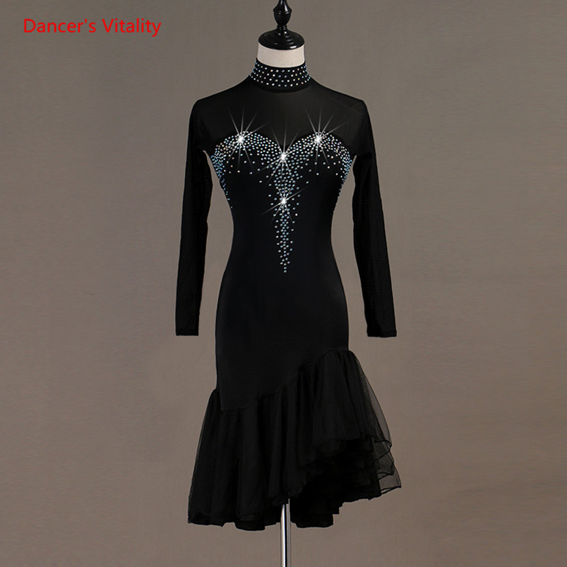 Women Latin Dance Costumes Luxury Diamonds Gauze Long Sleeves Ruffles Dresses Adult Latin Ballroom Dance Performance